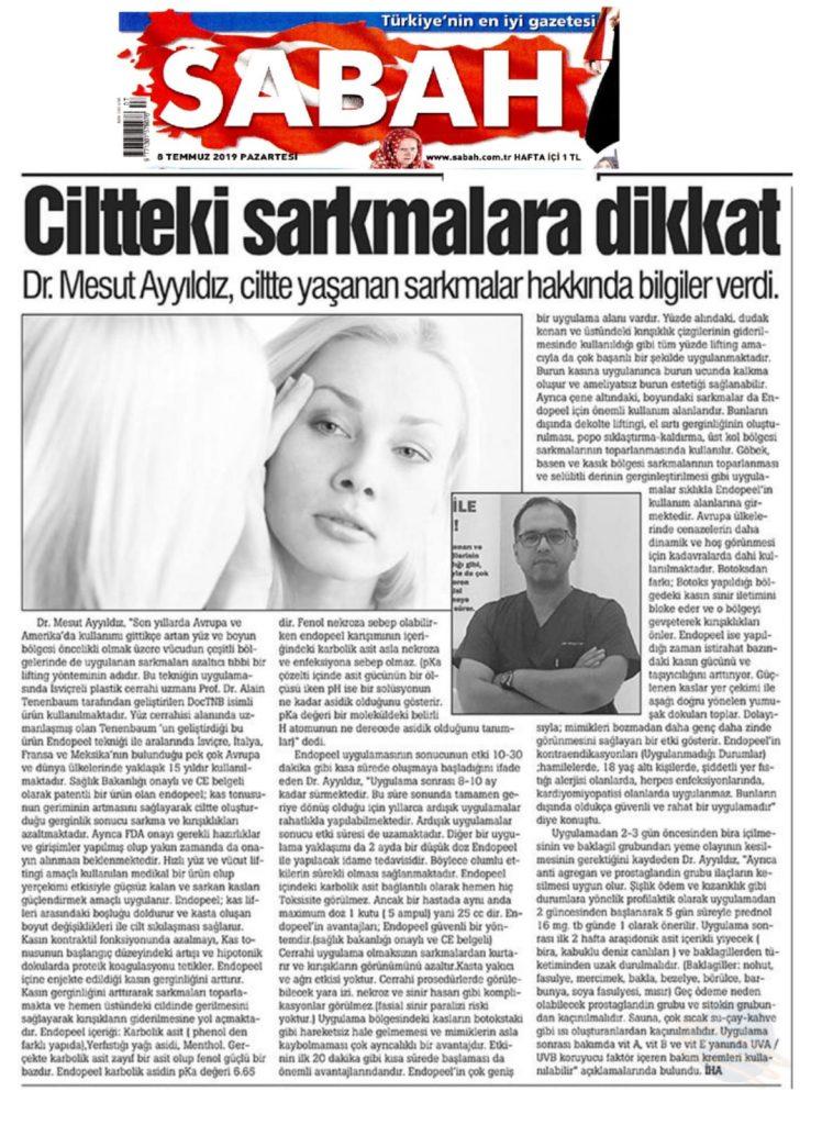 Dr. Mesut AYYILDIZ'ın 08 Temmuz 2019 Sabah gazetesindeki açıklamaları